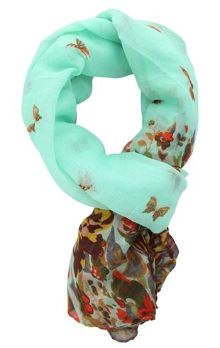 Woven Scarf with Floral and Butterfly Print