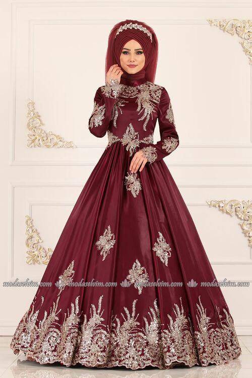 Modaselvim Abiye Gold Gupur Ve Payetli Abiye Ygs6189 Bordo The Dress Moda Stilleri Guzel Turban