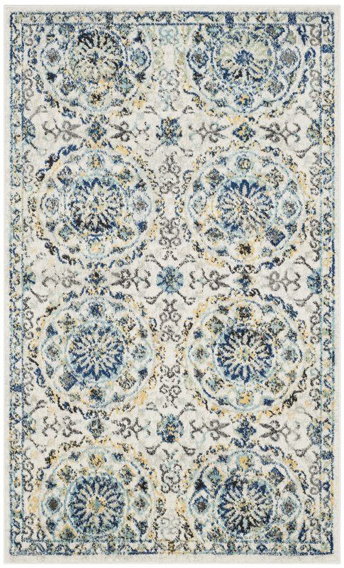 Ameesha Floral Ivory Blue Area Rug Traditional Area Rugs Area Rugs Indoor Area Rugs