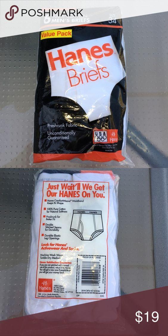 Mens Hanes Briefs 6-pack Size 34 Hanes 6-pack white Briefs. New in package. Size 34 Hanes Underwear & Socks Briefs