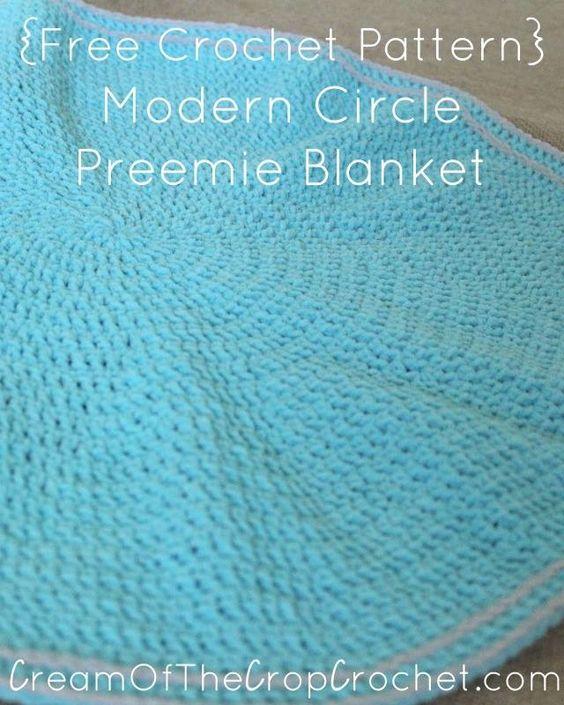 Cream of the Crop Crochet~Modern Circle Preemie Blanket {free ...