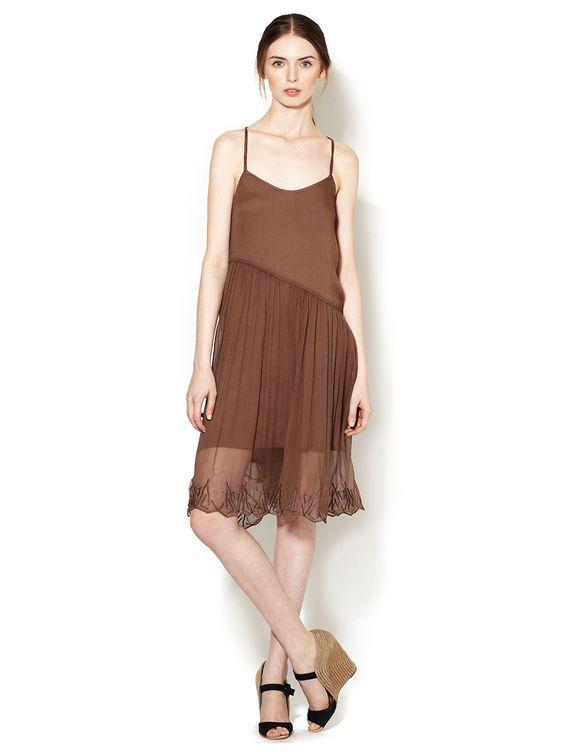 Textured Silk Asymmetrical Waist Dress by Anjara Garcia at Gilt