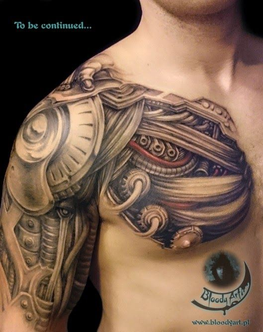 Biomechanical Tattoo Covering A Man S Chest Shoulder And Upper Arm Ripped Skin Tattoo Biomechanical Tattoo Shoulder Armor Tattoo