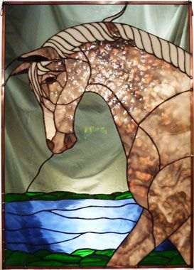 Stained-Glass: #Stained-glass horse panel.