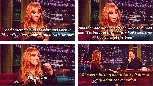 Gotta love Jen for having deep convos about HP.