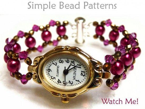 Beaded Watch Band Pattern Diy Beaded Bracelet Beaded Watches
