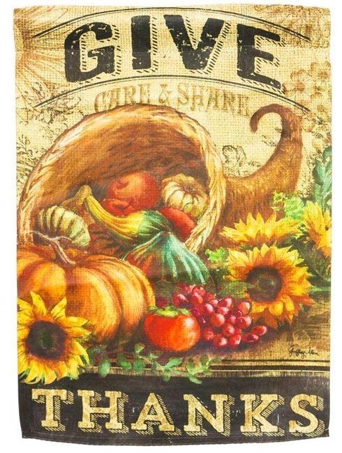 Give Thanks Cornucopia Garden Flag 2 Sided Thanksgiving