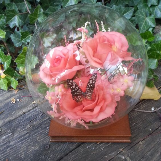Vintage Glass Butterfly Display Dome by CuriousSimplicity on Etsy, $20.00