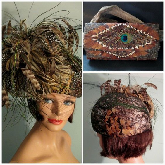 Vintage Don Anderson Hat Pheasant Feathers w/Clutch Purse Derby Church Formal L #DerbyChurch