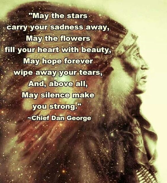 'May the stars carry your sadness away, may the flowers fill your heart with beauty, may hope forever wipe-away your tears and above all, may silence make you strong' - Chief Dan George #Native American Indian.