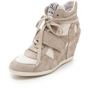 Ash Bowie Suede Wedge Sneakers with Canvas Insets - Polyvore