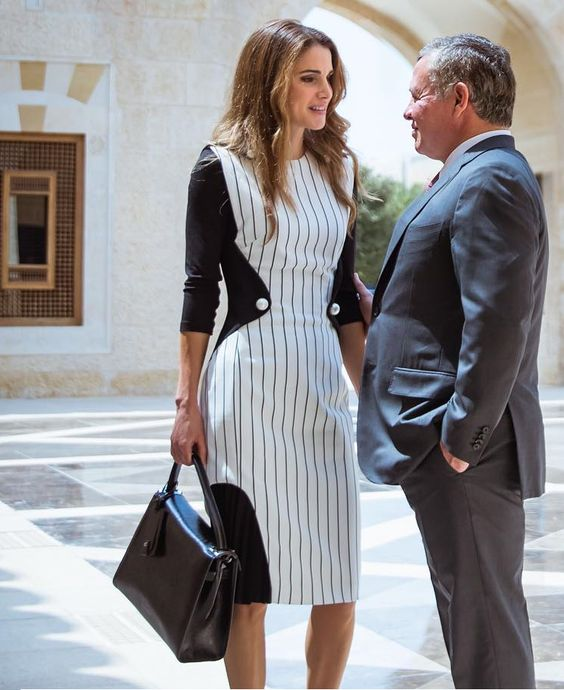 August 2016 - Queen Rania and King Abdullah - dress by Mugler