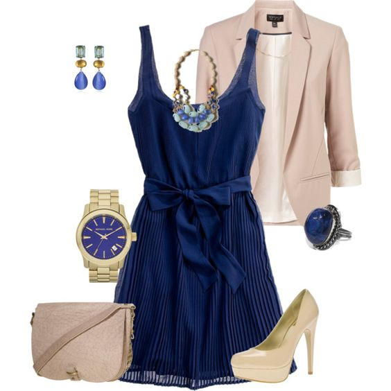 I have some killer nude Guess heels and I've never thought about pairing it with a nude blazer. DUH, where has my mind been!?! - Blue dress! created by sam-skip on Polyvore