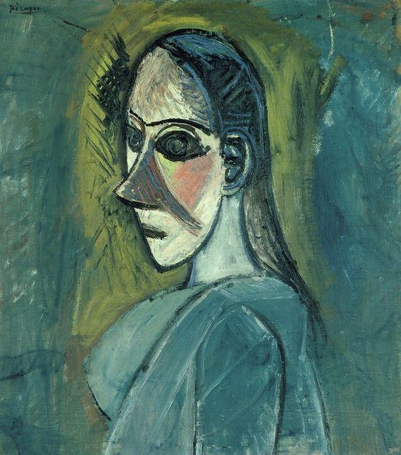 Pablo Picasso - Buste de femme, (Etude pour Les Demoiselles d'Avignon), Huile sur toile, 66 x 59 cm | Centre Pompidou