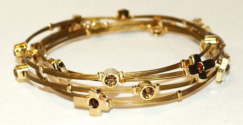 Gold Cross with Brown & Gold Crystals 4 St Floating Bracelet