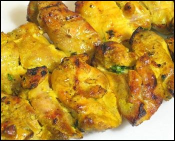 Iranian barbecued chicken kabob basted saffron. Jujeh Kabob. Juicy ...