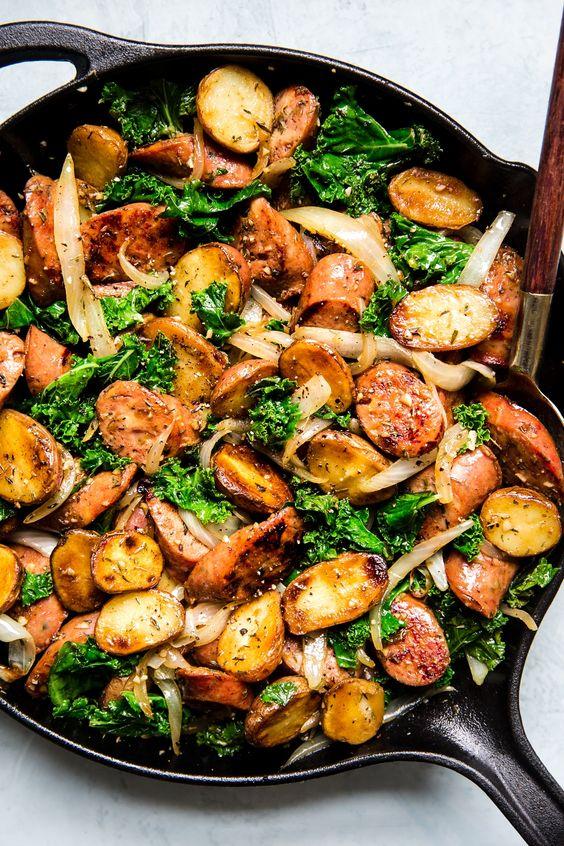 Sausage, Kale and Potato Skillet Dinner
