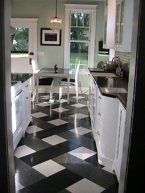 Google Image Result for http://2.bp.blogspot.com/_6RuB-MyU_O4/TNq82OtFJzI/AAAAAAAAJ5U/hronqjiz7hE/s800/arlene_plaid_kitchen_floor_white_cabinets_black_quartz_stone_counters_breakfast_nook_gren_walls_window_casing_remodel.jpg