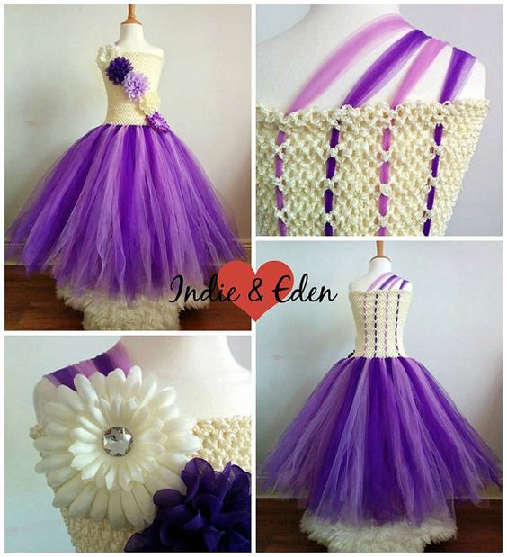 Girls tutu dress for wedding bridesmaid flower girl birthday cream purple with back tulle and flower detail lined crochet top
