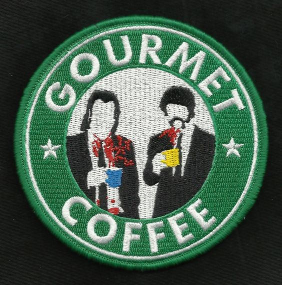 Pulp Fiction GOURMET COFFEE Vincent & Jules Morale Velcro Military Patch by usMILITARYPATCHcom on Etsy https://www.etsy.com/listing/238356751/pulp-fiction-gourmet-coffee-vincent