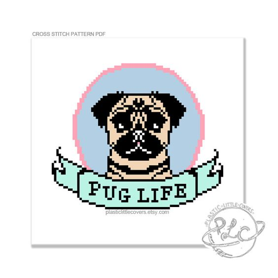 Pug Life Cross Stitch Pattern. Geeky cute by plasticlittlecovers