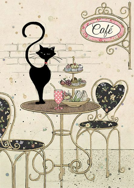 Cafe Cat - Bug Art greeting card: