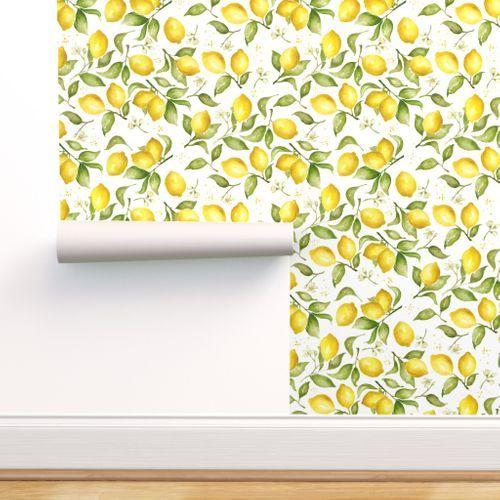 Lemon Blossoms Spoonflower In 2020 Lemon Watercolor Self Adhesive Wallpaper Lemon Blossoms