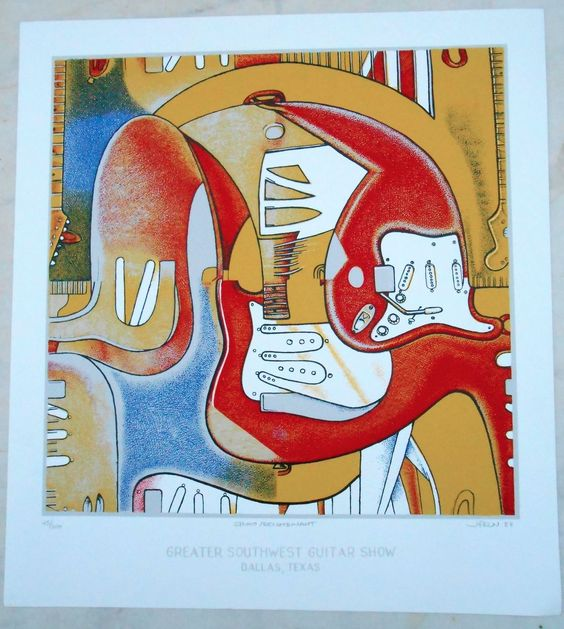 """Jim Franklin Signed Print 1988 """"Strato Recombinant"""" Vulcan Gas Company   Click this image to join the Texas Psych Group, now on Facebook! A continuation of the original Yahoogroup around since 1998!"""