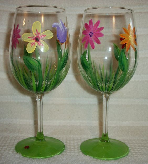 "Hand Painted Floral Wine Glasses Set of 2 by JRSisterDesigns, $20.00  ""Spring Garden"""
