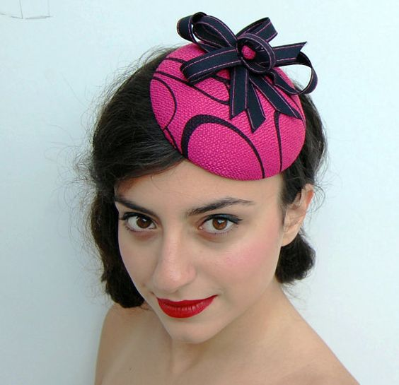 Fascinator hat pink linen with black ribbon by WhereIsTheCat