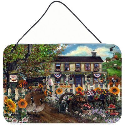 Caroline's Treasures Sunflowers and The Old Country Store by Tom Wood Painting Print Plaque