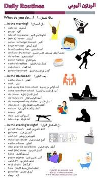 Daily Routines الروتين اليومي Reference Sheet Learn English Words English Language Learning Grammar Happy Life Quotes