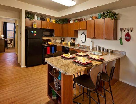 apartment kitchen full sized appliances including dishwasher