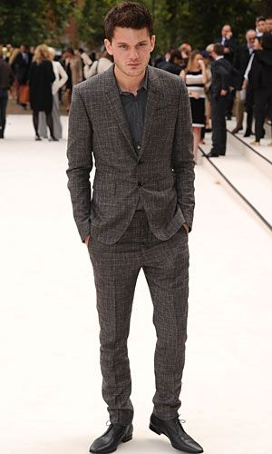 Jeremy Irvine at Burberry Prorsum show at London Fashion Week