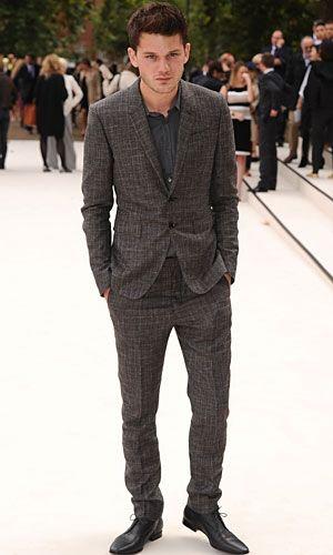 Jeremy Irvine at Burberry Prorsum show at London Fashion Week