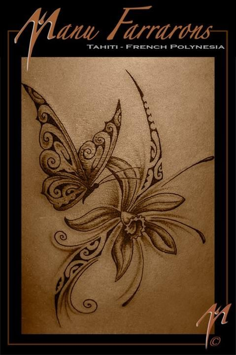 Papillons tahiti and tatouages on pinterest - Tatouage de papillon ...