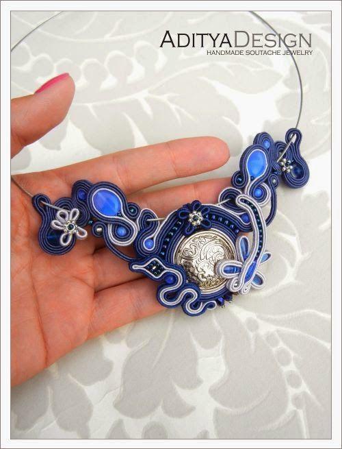 Soutache jewelry, blue necklace by AdityaDesign
