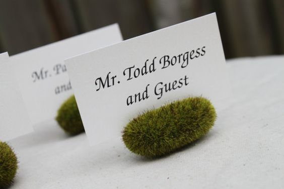 Moss Rock Place Card or Escort Card Holder, Garden Wedding, Outdoorsy, Rustic Place Cards - Set of 50. $100.00, via Etsy.