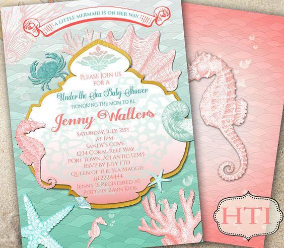 Under the Sea Invitation-Mermaid Invitation Baby by Hottomatoink2
