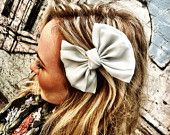 Cream Silk Hair Bow Clip - Celebrity Clip On Hair Bow- one bow hair piece with alligator clip