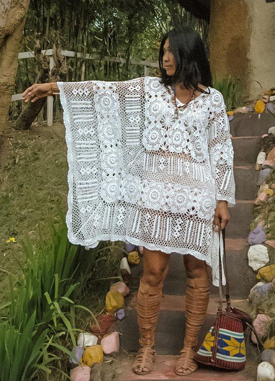 Boho wit gehaakt gratis stroom vrouw jurk/vrouw Kaftan.: