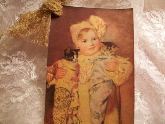 Xl French Vintage Girl With Kittens Tags TG 110   by smtiffanylane, $5.00