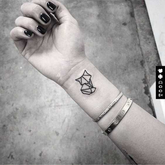Geometric fox animal temporary tattoo sticker on wrist