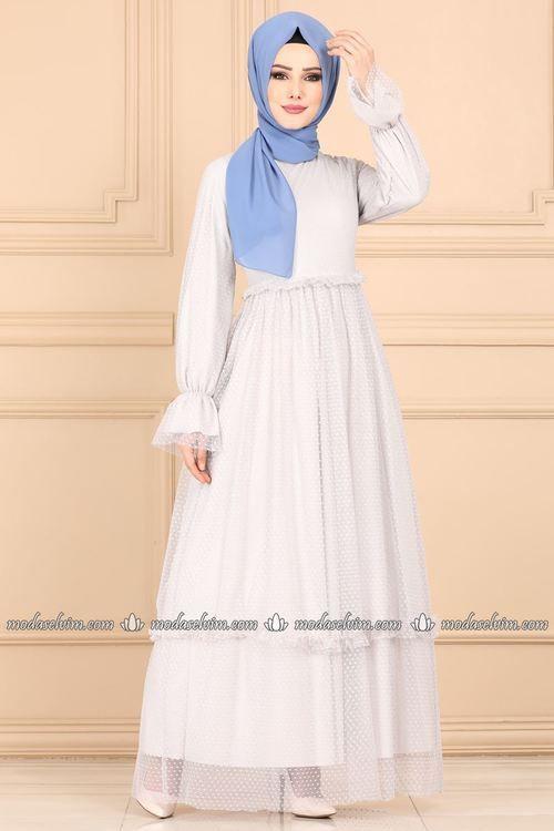 Modaselvim Elbise Firfirli Tul Elbise 8128et345 Gri Fashion Dresses Head Scarf