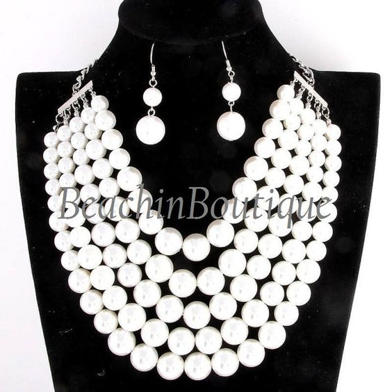 Swarovski Pearl Graduating 5 Layered Necklace by BeachinBoutique