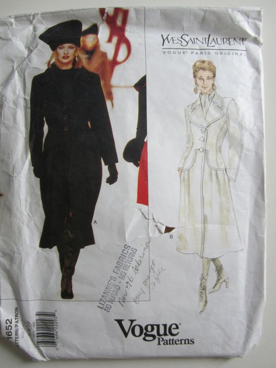 YSL Vogue Pattern 1652 - Yves St Laurent This is a beauty. The seaming! The drop waist! The collar! What a stunner. For the advanced sewer.  Description: Semi-fitted, lined, A-line coat, below mid-calf, has notched collar, shoulder pads and princess seams. Pleated lower front, side pockets and long, two-piece sleeves. Size: 6 8 10 bust 30.5 31.5 32.5  Brand and number: Vogue 1652  Copyright: 1995  Pattern Condition: Uncut, factory folded. Envelope is very worn and has writing on the front…