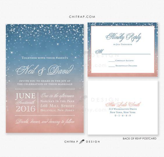 Starry Wedding Invitations RSVP Cards Printed Night Sunset – Wedding Invitations with Rsvp Cards