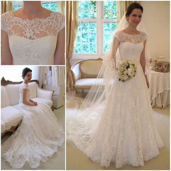 Wedding Dresses Lace Short Sleeves : Details about vintage lace white ivory wedding