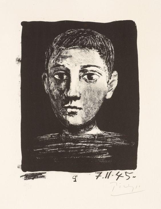 """Pablo Picasso Spain 1881-1973 """"Tête de jeune garcon"""""""