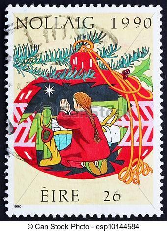 Postage stamp Ireland 1990 Child Praying, Christmas